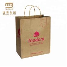 China Suppliers Custom Retail Grocery Carrier Brown Pantone Color Printing Kraft Paper Bag