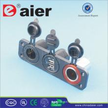 Daier 3 Panel de pandillas montado USB controlado toma de corriente y el encendedor de cigarrillos del coche