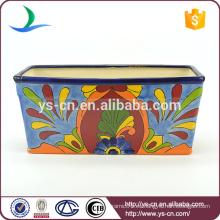 YSfp0003 Maceta de cerámica rectangular hecha a mano colorida para el jardín