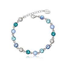 Zinc Alloy Colorful Women Bracelet Zircon Inset Women Jewelry Platinum Plated Bracelet