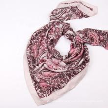Wholesale Fashion Silk Square Scarf Cashew Printed Size 110x110 Neckerchief Headband Scarves For Ladies