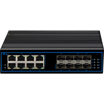 16 portar full gigabit-hanterad industriell switch