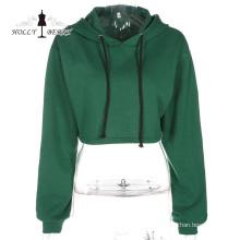 Sudadera deportiva corta con capucha y algodón informal con capucha