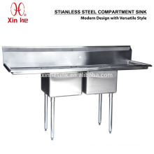 Freestanding Commercial Stainless Steel 2 Two Compartment Sink with Two Drainboard