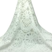 Vestido de encaje de algodón blanco bordado tela de encaje 120CM