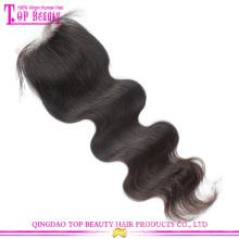 Top beauté cheveux gros cheveux malaisiens fermetures bas prix malaisienne corps Wave fermeture Lace Remy fermeture frontale avec les cheveux de bébé