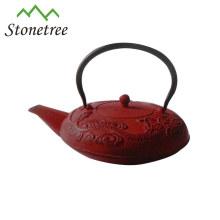 Heißer Verkaufs-Großhandelsrote Teekanne Roheisen-Email-Teekessel