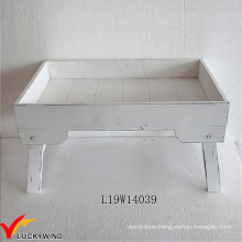 Distressed White Serving Wooden Tray with Legs