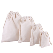 Promotion blank black white cotton canvas bag fitness backpack drawstring bag student drawstring backpack bag