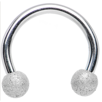 Sandblasted Steel Horseshoe Barbell Ring