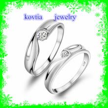 Casal casamento CZ jóias anel de diamante 925 anéis de prata esterlina