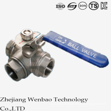3PC T-Port Female Thread Stainless Steel Ball Valve with Handle