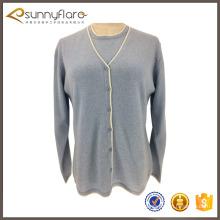 Nuevo diseño de lana de cachemira señoras hermosos trajes de suéter