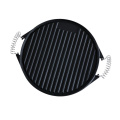 Reversible Double-Sided Round Cast Iron Griddle Pan for BBQ