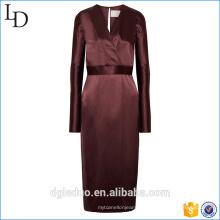 2017 V-Ausschnitt 100% Seide Frauen elegante lange einteiliges Kleid mit Gürtel