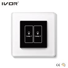 Interruptor de iluminación de 2 pandillas Marco de cristal para panel táctil (HR1000A-GL-L2)