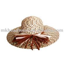 Chapeau de paille en dames et à large bordure