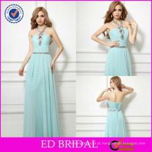 2015 New Fashion Hot Sale Beaded Plissado Low Back Evening Wear Dress