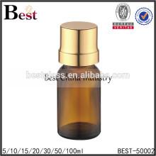 bouteille en verre d'huile essentielle d'ambre avec compte-gouttes, bouteille en verre d'huile avec le chapeau d'or, bouteille en verre d'huile à vendre