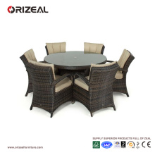 Ensemble de salle à manger ronde 6 places en rotin extérieur OZ-OR069