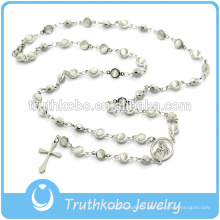 Bijoux religieux chrétiens yeux de tigre pierre collier de perles en acier inoxydable avec Jésus Sideway Croix chapelet en gros