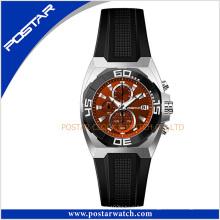 Psd-2344 moda clássico relógio de pulso de quartzo com pulseira de couro genuíno