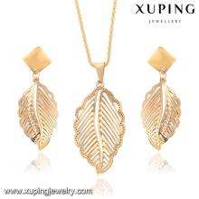 63914-Xuping New Stylish Stainless Steel Leaf Shape Jewelry Set
