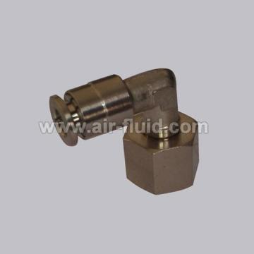 90 Degree Elbow, Swivel,  Nickel-Plated Push-to-Connect Fitting