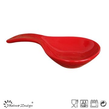 Red Color Glazed Stoneware Soup Spoon