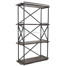 Étagère à étagères en métal industriel en bois de 3 étages