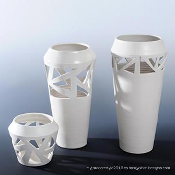 Vaso decorativo de la porcelana blanca del diseño creativo para la etiqueta de la oficina (A0804)