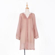 Real Silk Long Sleeve Transparent Mini Dress