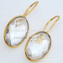 Designer Gold Vermeil Crystal Quartz Silver Gemstone Earring For Very Special Day Christmas