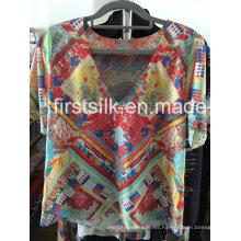Vestido informal de moda para damas Impreso Silk-6