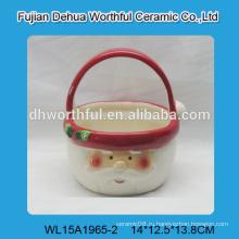 Красивые керамические корзины с рисунком Санта-Клауса