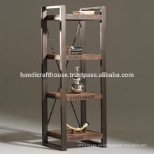 Industrial Vintage Metal y madera de 4 niveles estanterías pantalla