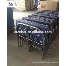 Blue color folding metal bed frame with mattress