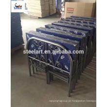 Moldura de cama de metal dobrável de cor azul com colchão