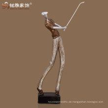 beste Qualität Zuhause dekorative Bronze Farbe Golfmann Skulptur