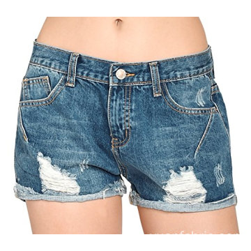 Women Vintage Distressed Bomull Jeans Denim Shorts