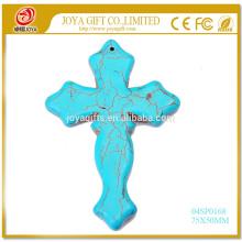 Полудрагоценные камень Кристалл Бирюза ювелирные изделия ожерелье Крест подвеска 55x40 мм
