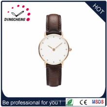 2015 logotipo personalizado Súper delgado reloj / banda de cuero (DC-1421)