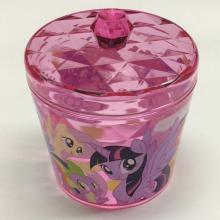 Boîte de rangement ronde en plastique avec motif losange