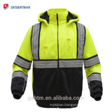 ANSI Class 3 Lime High Visibility Safety Hooded FULL-ZIP Workwear Sweatshirts With Black Birdseye Mesh Lining