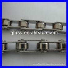 Cadena de rodillos transportadores de doble paso de acero inoxidable