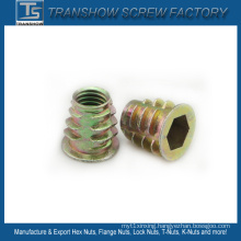 Yellow Galvanized Collar Head Insert Nut