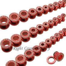 Crazy Body Jewelry Tornillo de cristal anodizado rojo en el túnel de la carne