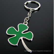 Promoção do presente verde novidade esmalte folha trevo chaveiro afortunado (f1336)