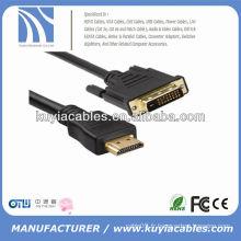 Câble haute qualité 24 + 1 DVI TO HDMI Câble mâle à mâle pour PC TV HDTV Noir