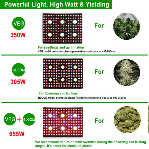 Potente luz de cultivo de jardín LED VEG BLOOM de 3000 W